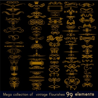 Collection golden ornamental elements