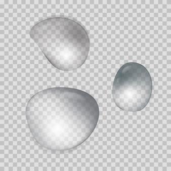 Collection de gouttes d'eau transparente réaliste