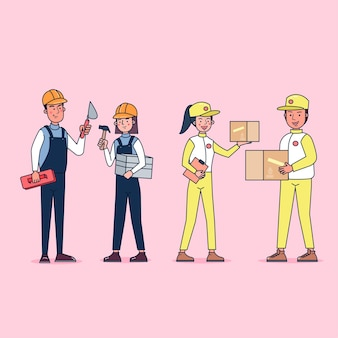 Collection de grand ensemble isolé diverses professions ou personnes de profession portant un uniforme professionnel, illustration plate.