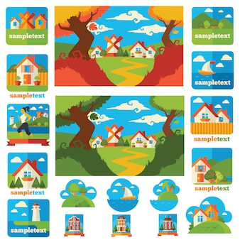 Collection grand vecteur de beaux paysages et de la nature en style cartoon plat