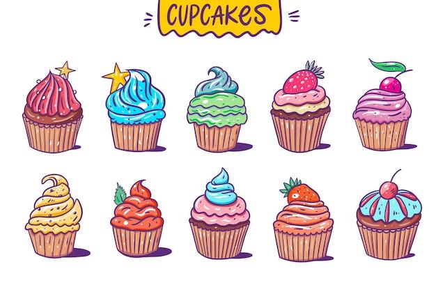 Collection de grands ensembles sweet ten cupcakes. style de bande dessinée.