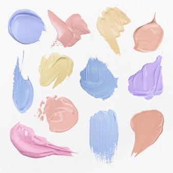 Collection de graphiques d'art créatif de trait de pinceau de vecteur texturé de frottis de peinture colorée
