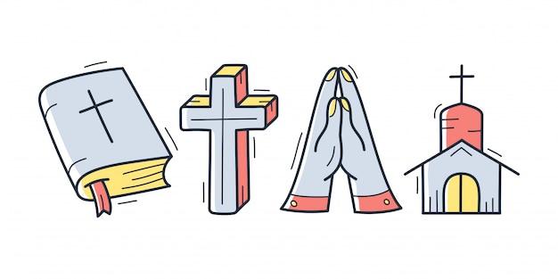 Collection de griffonnage thème chrétien dessiné main mignon en blanc isolé