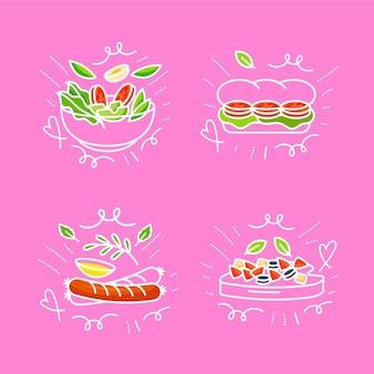 Collection de griffonnages alimentaires dessinés à la main