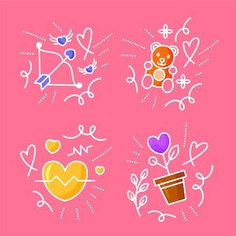 Collection de griffonnages d'amour dessinés à la main