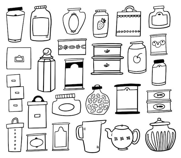Collection de griffonnages de conteneurs de stockage