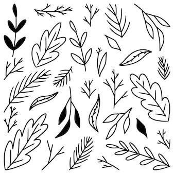Collection de griffonnages de feuilles abstraites. illustrations vectorielles dessinées à la main. dessins vintage de contour noir isolés sur blanc. éléments botaniques de contour simples pour la conception.