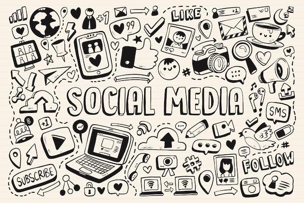 Collection de griffonnages monochromes de médias sociaux