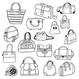 Collection de griffonnages de sacs à main