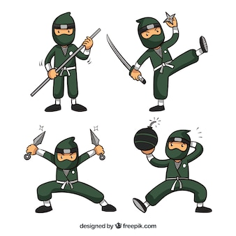 Collection de guerrier ninja dans différents posses