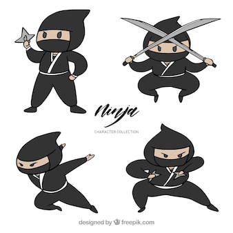 Collection de guerrier ninja dessinés à la main