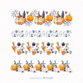 Collection de guirlande halloween dessinés à la main