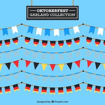 Collection de guirlande oktoberfest au design plat