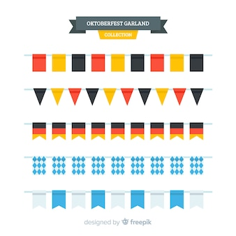 Collection de guirlande oktoberfest au design plat