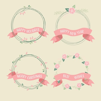 Collection de guirlande de rubans de noël rétro rose hip