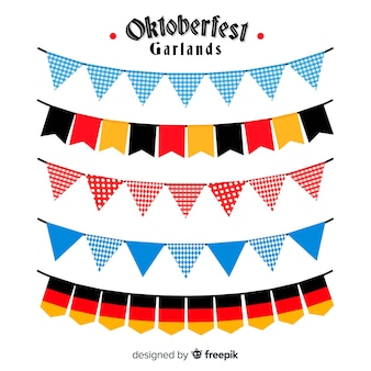 Collection de guirlandes colorées oktoberfest au design plat
