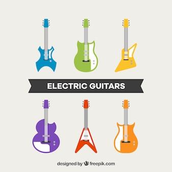 Collection de guitares électriques dans un design plat