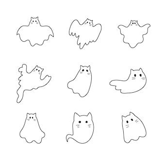 Collection halloween de chats fantômes mignons