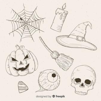 Collection d'halloween dessinée à la main réaliste
