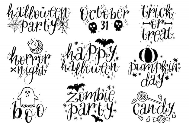 Collection halloween typographique.