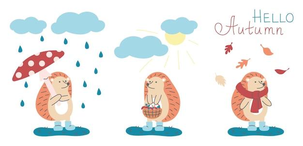 Collection de hérissons mignons. concept d'automne avec des animaux drôles. pluie, soleil, automne.