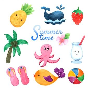 Collection heure d'été à l'aquarelle