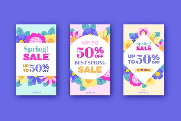 Collection d'histoire instagram de vente de printemps avec des fleurs