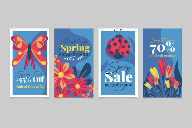 Collection d'histoire instagram de vente de printemps avec des papillons et des coccinelles