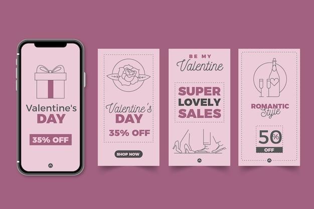Collection de l'histoire de la vente de la saint-valentin