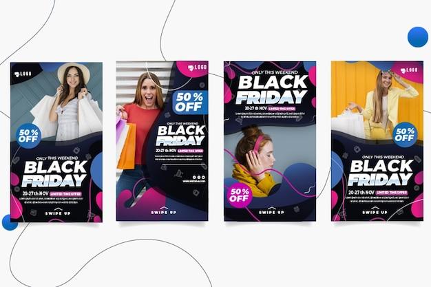 Collection D'histoires De Black Friday Ig Vecteur Premium