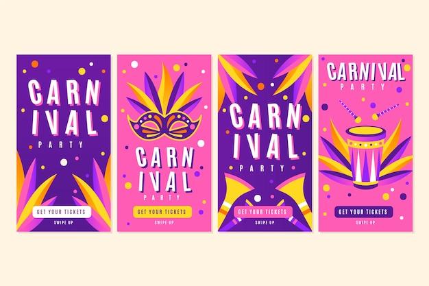 Collection d'histoires colorées de points et masques de carnaval instagram