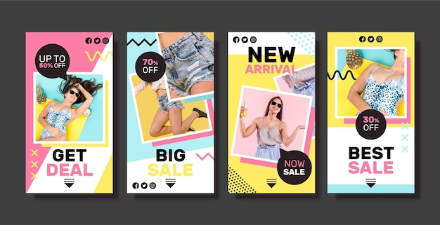 Collection d'histoires colorées de vente instagram