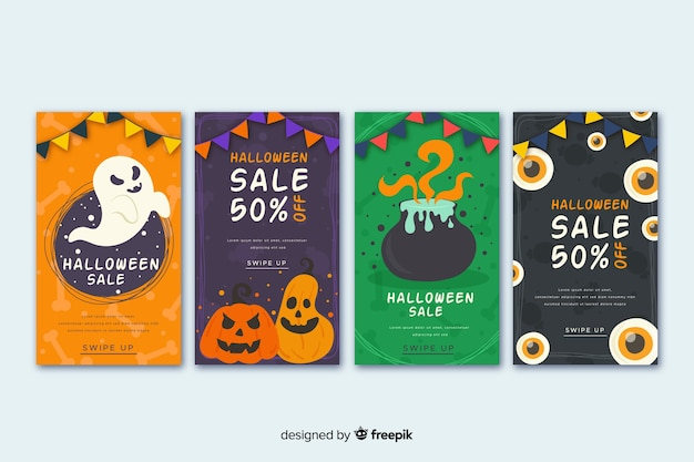 Collection d'histoires halloween avec citrouille et sorcellerie