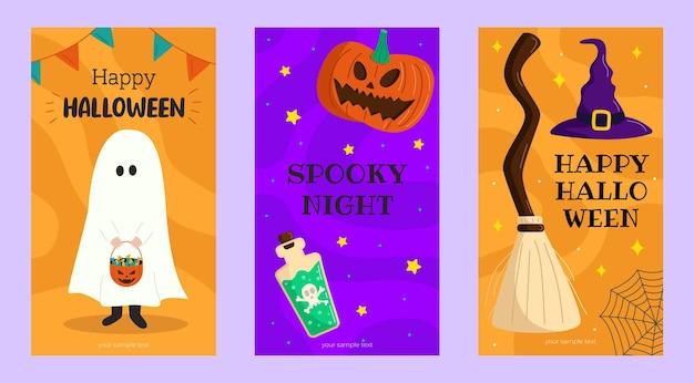 Collection d'histoires d'halloween dans un style plat