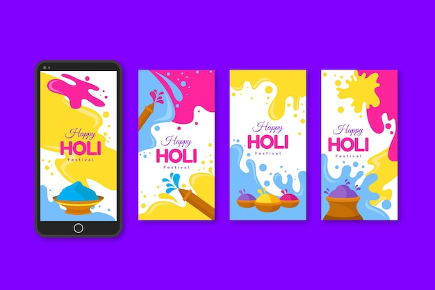 Collection d'histoires holi instagram