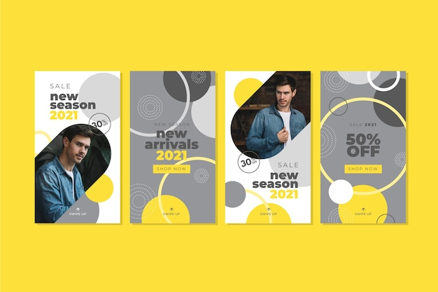 Collection d'histoires instagram abstraites jaunes et grises