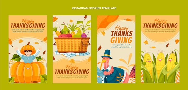 Collection d'histoires instagram d'action de grâces plates dessinées à la main