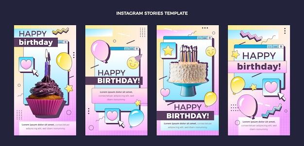 Collection d'histoires instagram d'anniversaire dégradé rétro vaporwave