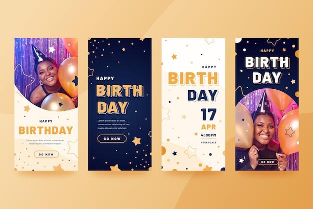 Collection d'histoires instagram d'anniversaire plat