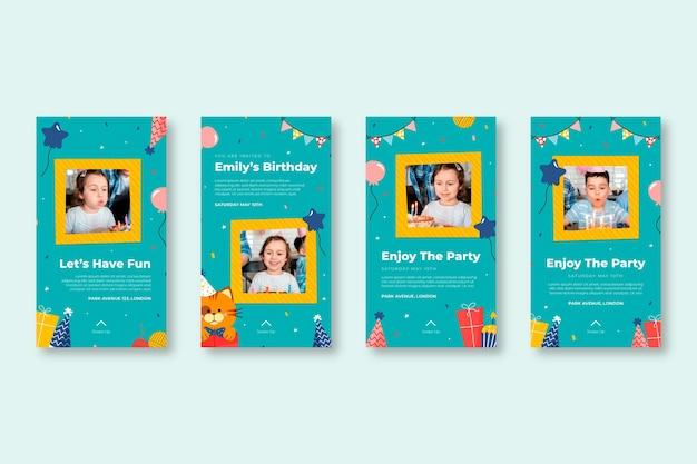 Collection d'histoires instagram d'anniversaire pour enfants