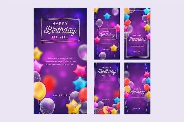 Collection d'histoires instagram d'anniversaire
