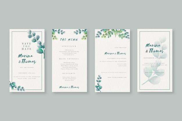 Collection d'histoires instagram aquarelle pour mariage