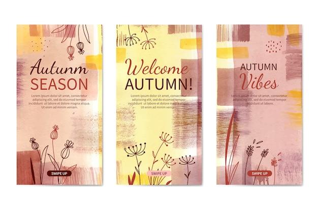 Collection d'histoires instagram automne aquarelle