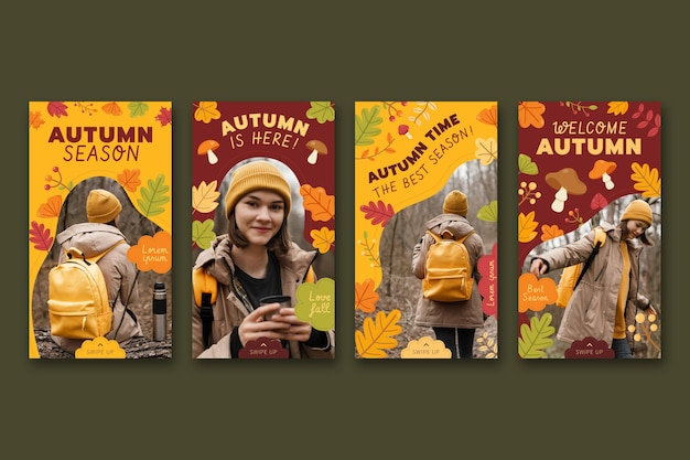 Collection d'histoires instagram d'automne avec photo