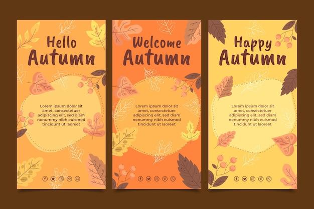 Collection d'histoires instagram d'automne plat dessinées à la main