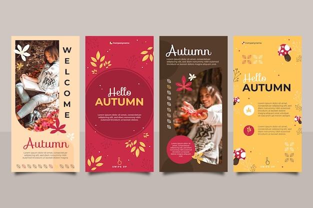 Collection d'histoires instagram d'automne plat avec photo