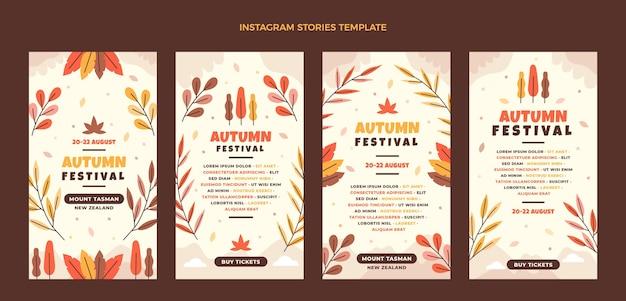 Collection d'histoires instagram d'automne plat