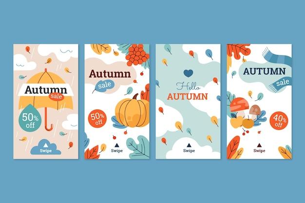 Collection d'histoires instagram d'automne