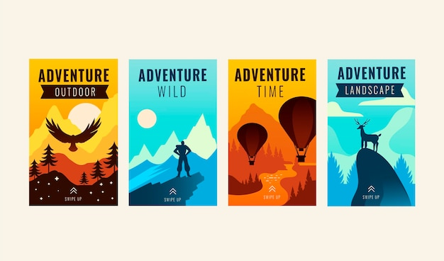 Collection d'histoires instagram d'aventure plate