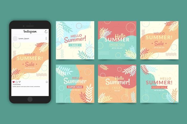 Collection d'histoires instagram bonjour vente d'été